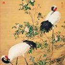 China Animals Paired Cranes in the Shade with Flowers, Giuseppe Castiglione, Qing Dynasty on sale