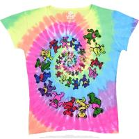 Spiral Bears Womens Tie-Dye Juniors Long Length T-Shirt