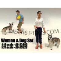 Buy cheap AMERICAN DIORAMA-AD-23890 - SITTING 2 PIECE FIGURE 1/18 WOMAN AND DOG from wholesalers