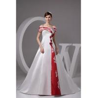 Buy cheap Off Shoulder Satin Chapel Train A Line Wedding Dresses with Color from wholesalers