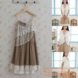 Buy cheap Mori Girl Female Cute Summer Tiered Sexy Sling Lace Cotton Knee-Length Dress from wholesalers