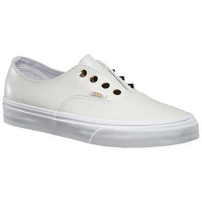 Vans Authentic Gore Stud White Leather Slip On Shoes
