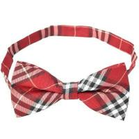 Buy cheap Decoration Cotton Lattice Bow Tie - Red from wholesalers