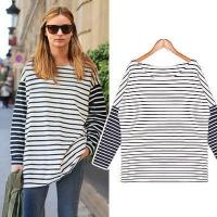 Womens New Fashion Retro Striped Raglan Sleeve Patchwork Loose Casual Middle-long Sweater Tops