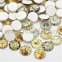 Clock Printed Glass Cabochons, Half Round/Dome, Mixed Color,...(X-GGLA-A002-12mm-YY)
