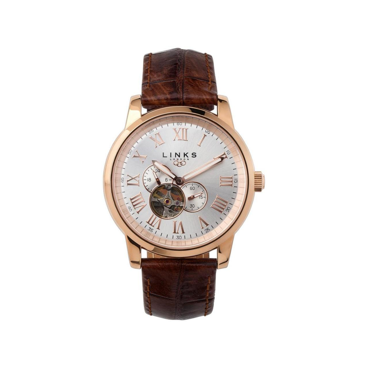 Buy cheap MEN Noble Mens Rose Gold Plate & Brown Leather Automatic Watch from wholesalers