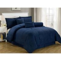 Buy cheap Blue Comforter Chezmoi Collection 7-Piece Dobby Stripe Comforter Set, Queen, Navy Blue from wholesalers