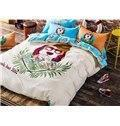 55 Lovely Cartoon Dog Image 100% Cotton 4-piece Duvet Cover Sets