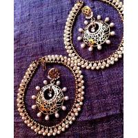 Buy cheap Dancing Girl Combo 1white diamentes pearl payal anklet & golden cut work pearl earring cb1 from wholesalers