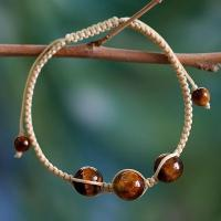 Buy cheap Hand Made Cotton Shambhala-style Tigers Eye Bracelet, 'Lucky Tranquility' from wholesalers