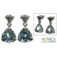 Buy cheap Blue Topaz Sterling Silver Dangle Earrings, 'Mystic Trinity' from wholesalers