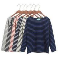 Buy cheap 2015 autumn loose 100% cotton long-sleeve T-shirt female horizontal stripe plus size cloth from wholesalers