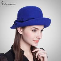 Buy cheap blue or burgundy aPPlique hat with flower accessories hat in 100% wool felt FW023027 from wholesalers