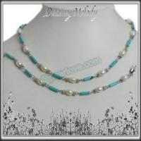 Buy cheap NS61 7-8mm rice pearl turquoise jewelry set from wholesalers