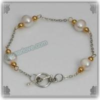 Buy cheap BA127 8-9mm white pearl wrapped bracelet from wholesalers
