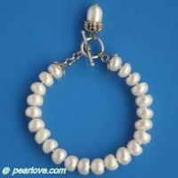 Buy cheap BA49 8-9mm white button pearl bracelet from wholesalers