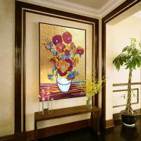 Buy cheap JY15-P6,Van Gogh Sunflower Painting Art Glass Mosaic Mural Design Wall Decor product