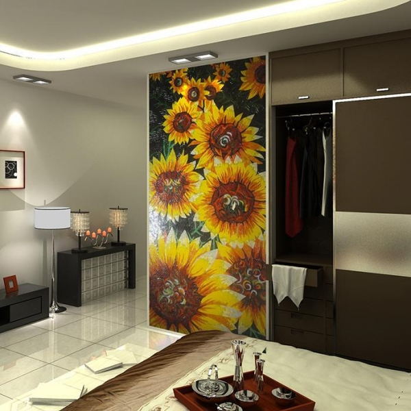 Quality JY15-P178,Artistic Glass Mosaic Wall Decor Sun Flower Mural Design Patterns for sale
