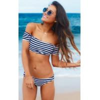 Buy cheap White and Blue Stripped Slash Shoulder Swimwear 21402 from wholesalers