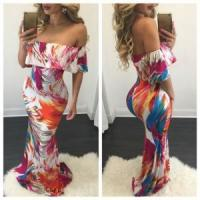 Buy cheap Enthic Style Off Shoulder Maxi Dress 21278-4 product
