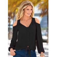 Buy cheap Plain Color Cut-Out Shoulders Long Sleeve Blouse 21362-1 from wholesalers