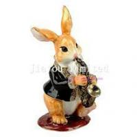 Buy cheap TBP0621-rabbit pewter figurines hare jewelled box treasure box from wholesalers