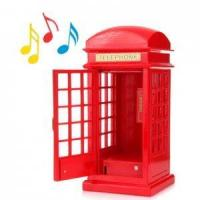 Buy cheap child toys Wooden telephone booth red music box music box gifts af01087 from wholesalers