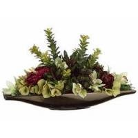 Buy cheap 12 Artificial Anthurium, Silk Hydrangea Flowers and Jade in Ceramic Vase WF1028-GR from wholesalers