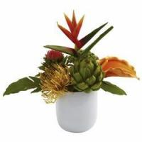 Buy cheap Tropical Floral Arrangement in White Glass Vase NN4820 from wholesalers