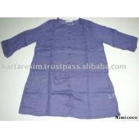 Buy cheap Super Fine Voil fabric Navy Natural Ladies Woven Tunic tops from wholesalers