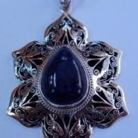 Buy cheap Artisan crafted sterling lapis lotus pendant from wholesalers