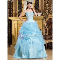 Buy cheap Light Blue Beaded Sweetheart Corset Organza Long Quinceanera Dress from wholesalers