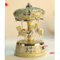 Rotating 3horse music box-beige