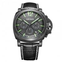 Buy cheap Cool Fashion Men Quartz Chronograph Calendar All Black Designed Green Sandwich markers Megir 3106-3 from wholesalers