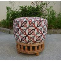 Buy cheap Comfortable French Antique Wooden Base Upholstered Fabric Round Stool Ottoman from wholesalers