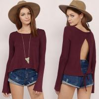 Buy cheap Lady Long Sleeves t-shirt back open tie in burgandy color from wholesalers
