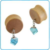 Buy cheap TP04384 Charming Light Blue Glass Stone Dangle on Fashion Wood Ear Piercing Body Jewelry Plugs from wholesalers