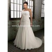 Buy cheap Chiffon Over Satin A-line Scoop Neck Chapel Train Appliques Plus Size Wedding Dress from wholesalers