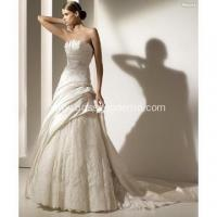 Buy cheap A-line Strapless Cathedral Train Satin Lace Beading Appliques Wedding Dress from wholesalers