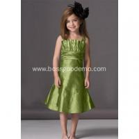 Buy cheap A-line Scalloped Neckline Knee-length Taffeta Ruffled Flower Girl Dress from wholesalers