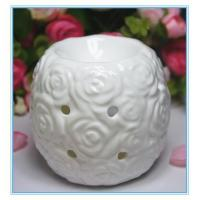 Buy cheap white relief rose ceramic oil burner from wholesalers