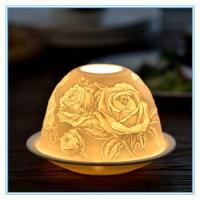 Buy cheap ceramic relief flower tealight candle holder from wholesalers
