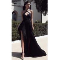New Arrival Hlater Chiffon Evening Gown Simple Open Back Slit 2016 Prom DressItem Code: NB101