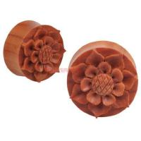 Buy cheap PAIR Organic Hand Carved WOOD Flower Plugs 11mm 7/16 from wholesalers