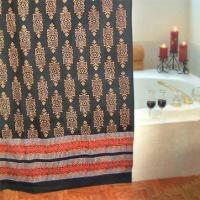 Buy cheap Kilim Noir ~ Designer Black Gold Cotton Fabric Shower Curtain 72x72 from wholesalers