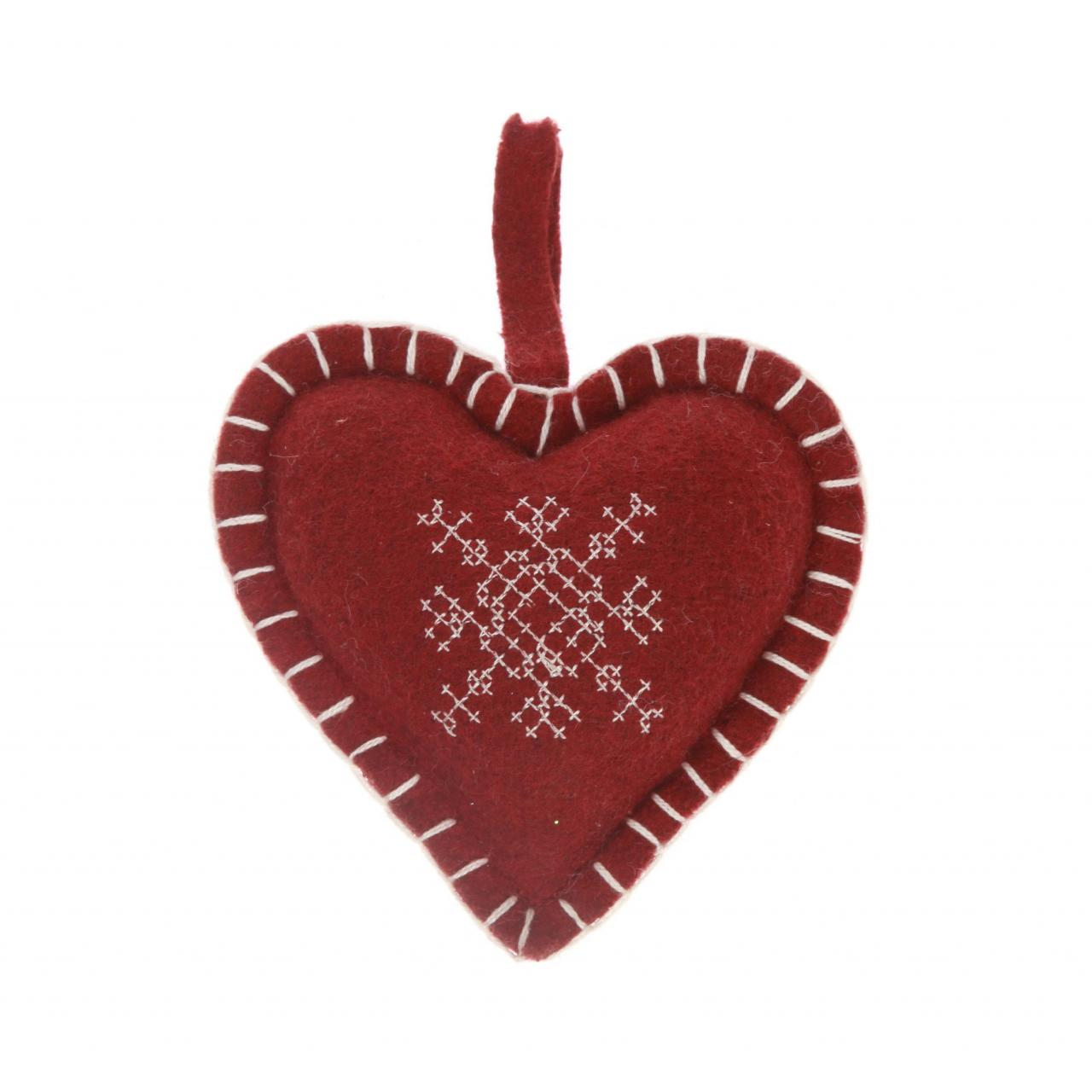 Buy cheap Snowflake Embroidered Heart Decoration - Red product