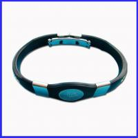 Buy cheap silicone power ions bracelet with stainless steel from wholesalers