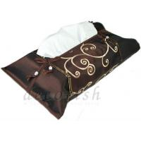 Buy cheap Brown Silk Kleenex Tissue Box Cover with Embroidered Spiral Design from wholesalers