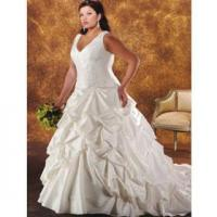 Buy cheap A-line V-neck Sweep/ Brush Train Satin Plus Size Wedding Dresses(PS021) from wholesalers