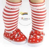 China T-Strap Sneakers Shoes Stars Red for American Girl Doll on sale